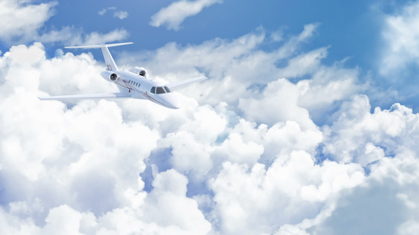 Aerial view of charter private jet flying above white clouds in a clear sunny day, camera in front of the plane, 3d render Royalty-Free Stock Footage #1046392675
