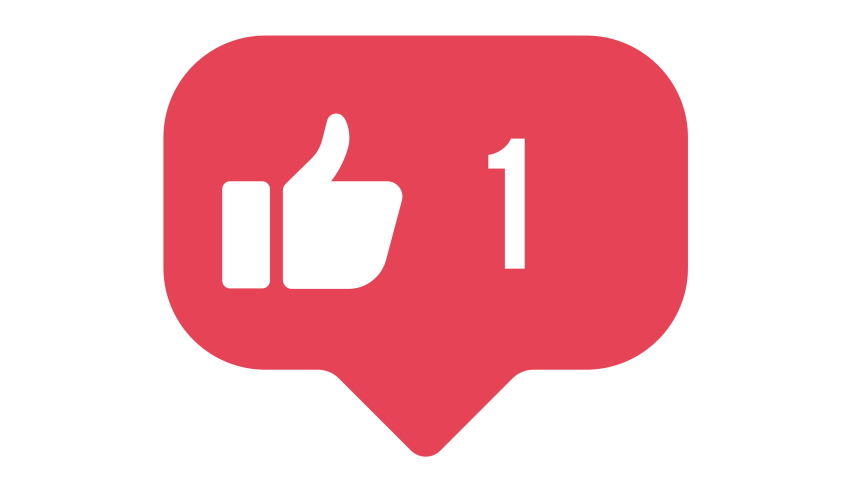 Flat design thumbs up 4K social media like counter, shows clicks over time on a white background with alpha matte