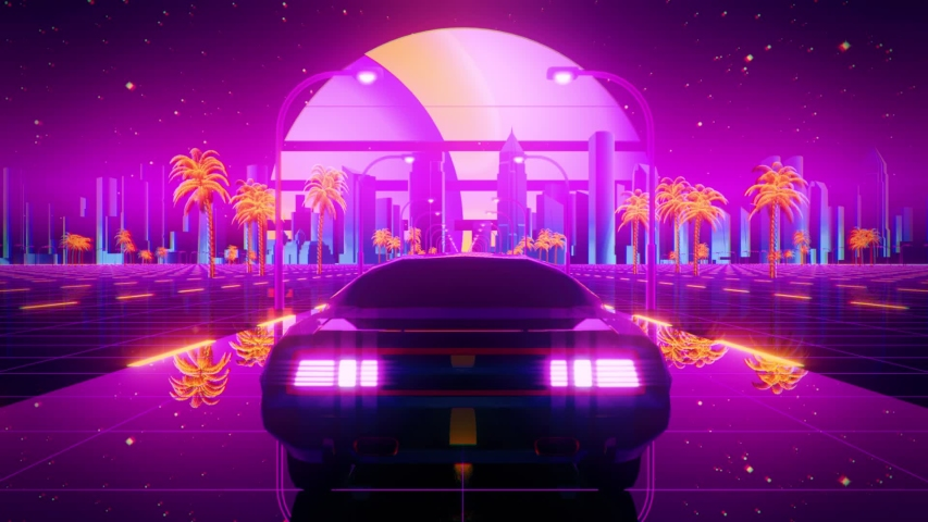 3D Retro Synthwave Night City Car VJ Loop Motion Background with glitch effect  | Shutterstock HD Video #1046441458