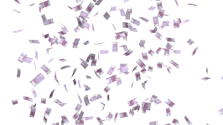 500-Euro Banknotes Falling From Sky _ on white background with alpha-sequence _ 4k _ 3d animation   Shutterstock HD Video #1046465077