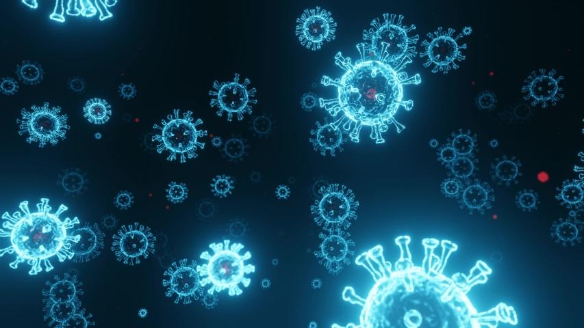 Viruses, Virus Cells under microscope, floating in fluid and glow. Pathogens outbreak of bacterium and virus, disease causing microorganisms. Coronavirus COVID-19. 3D looped animation