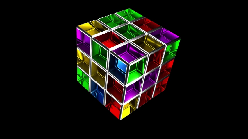 The 3x3 Rubik's Cube being solved over a black background with alpha channel. Rubik's Cube invented by Hungarian architect Erno Rubik in 1974. 4K video. 3D rendering.    Shutterstock HD Video #1046488048