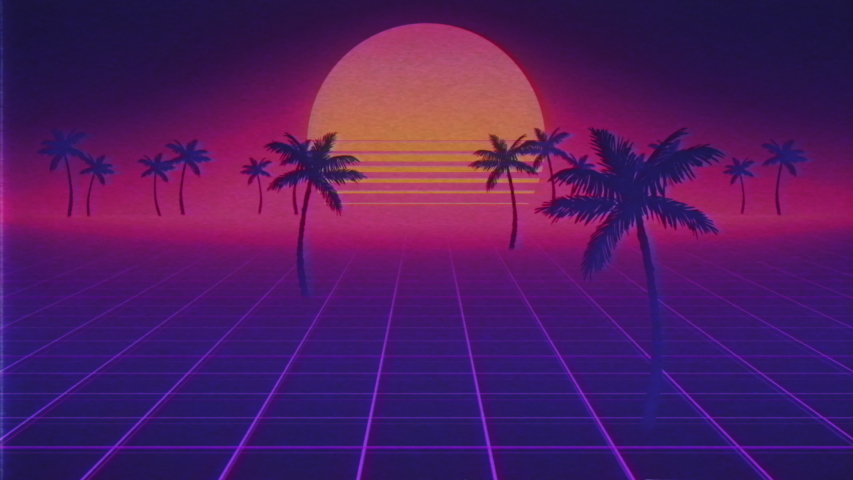 Camera moves along the synthwave wireframe net. Palm trees appearing. Sun on beach. 80s style, Retro Futurism Background. VHS intro. 3D Render. Retro wave horizon landscape, neon lights. Seamless loop | Shutterstock HD Video #1046490064