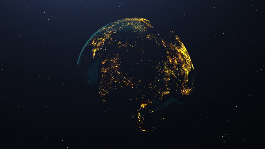 Earth pulsing with colors at night. Great textless background video with room for your text. Perfect for presentations.