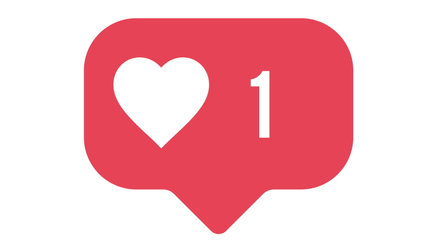 Flat design social media heart button counter going up. Alpha matte 4K for ease of use.
