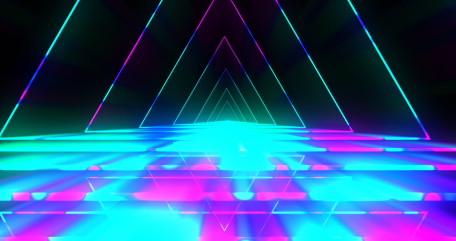 Vj futuristic neon tunnel in triangle form. Popular bright neon pattern in pink and blue tones. 4k endless vj motion | Shutterstock HD Video #1046511166