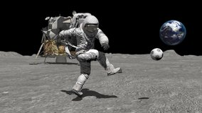 Astronaut on the moon playing football. Elements of this video furnished by NASA.
