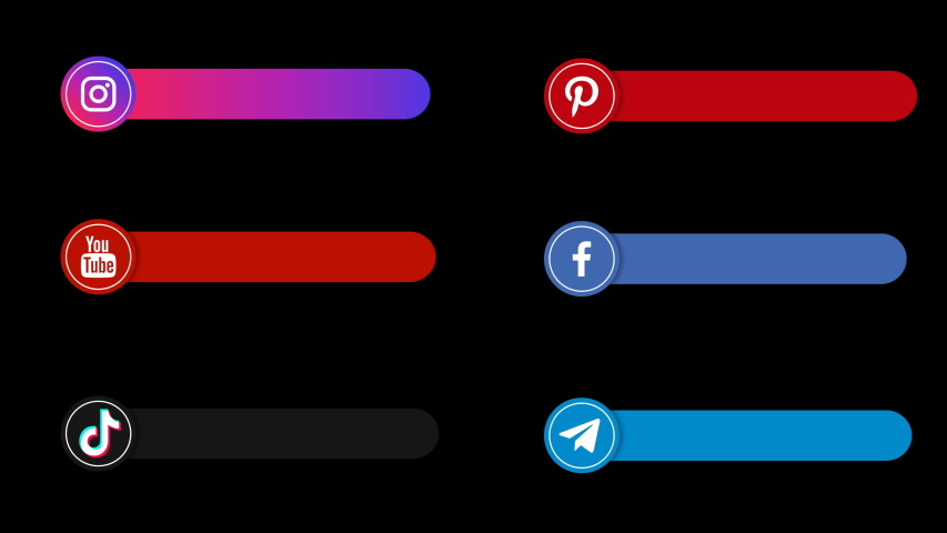 Icons Facebook, Youtube, Instagram, Pinterest, TikTok, Telegram animated for link follows. Layout for profile title Social Media for your video. Flat motion graphic.4K