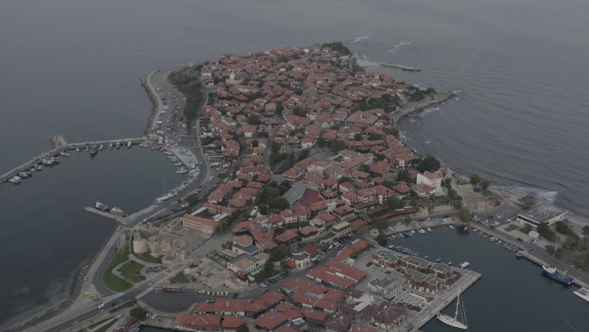 Bird's-eye view of the ancient city of Nessebar, near the famous resort of Sunny Beach, Bulgaria. Aerial drone footage