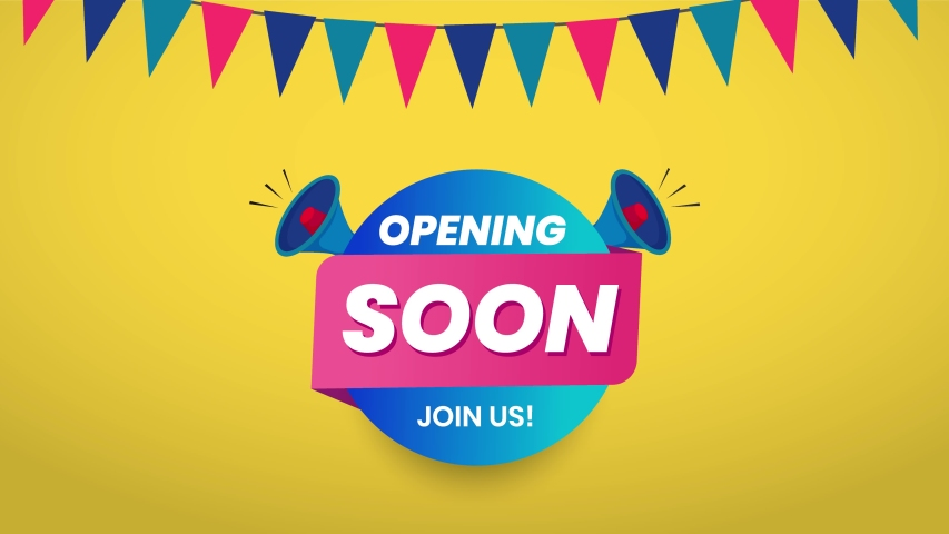 Opening Soon announcement animated video for facebook cover with speakers