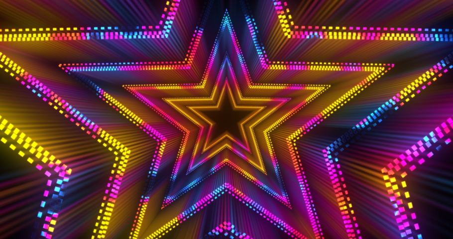 Vj futuristic neon tunnel in star form. Popular multicolor bright neon pattern . 4k endless vj motion | Shutterstock HD Video #1046610502