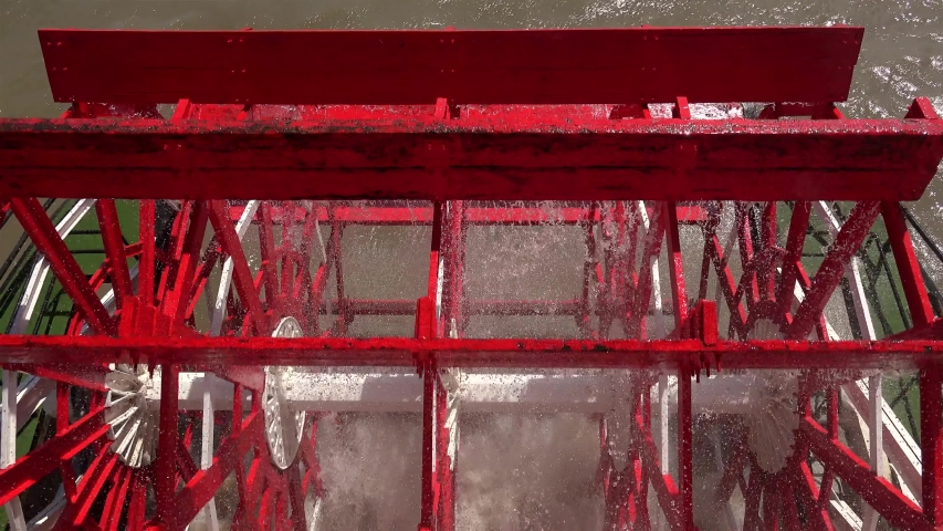 Working paddlewheel of the steamboat. New Orleans, Louisiana, USA