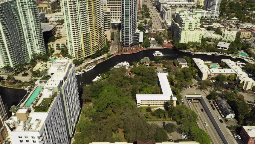 Aerial video Downtown Fort Lauderdale River 4k 2020