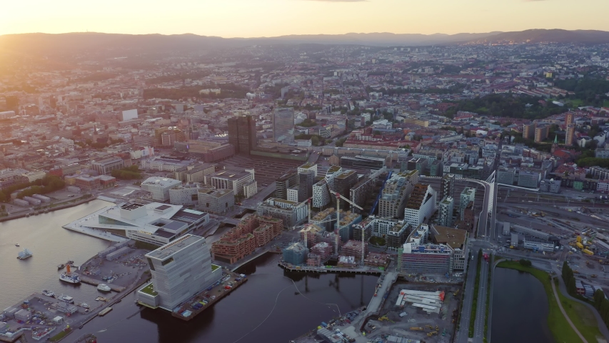 Oslo, Norway. Oslo Opera House. Operahuset Oslo. View overlooking the town. Sunset, Aerial View, Point of interest | Shutterstock HD Video #1046663467