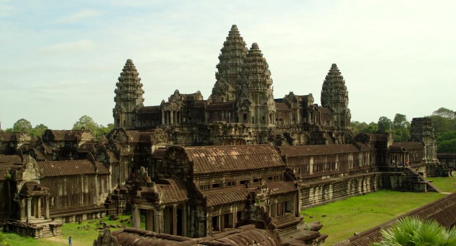 Aerial pan around Angkor Wat temple in Cambodia.