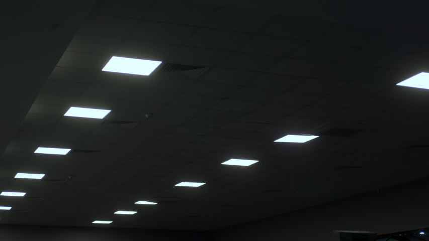 Square Led lamps built into the ceiling glowing in the dark. To include / switch off. | Shutterstock HD Video #1046698819