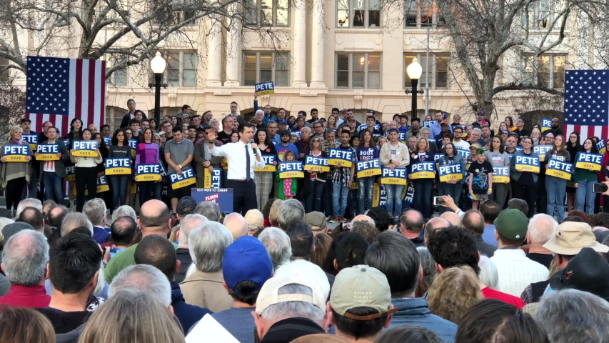 Sacramento, CA - Feb 14, 2020: 4K HD video of Presidential candidate Pete Buttigieg, Mayor of South Bend Indiana, speaking at a Town Hall at Cesar Chavez Plaza in Sacramento, CA