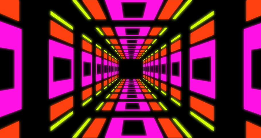 4K Colorful retro style tunnel loop animation in fast motion with blinking lights.Disco style room zoom in animation  Royalty-Free Stock Footage #1046735734