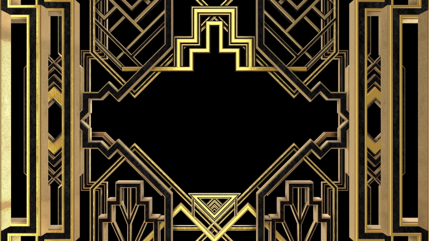 Art Deco Gatsby Golden Frame animation. Incl ALPHA MATTE. Ideal 4K 3D intro or transition for TV show, documentary movie, catwalk stage design or The Great Gatsby and 1920s theme related projects.