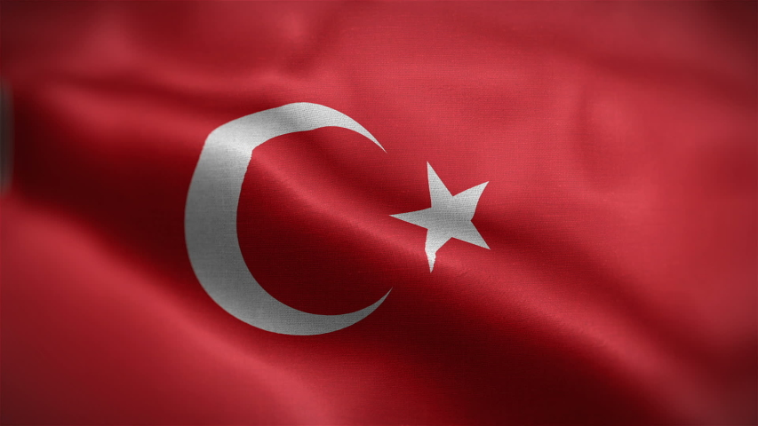 Frontal view of Turkish national flag. Flag blowing in wind. High quality textures. loopable 16 seconds video.