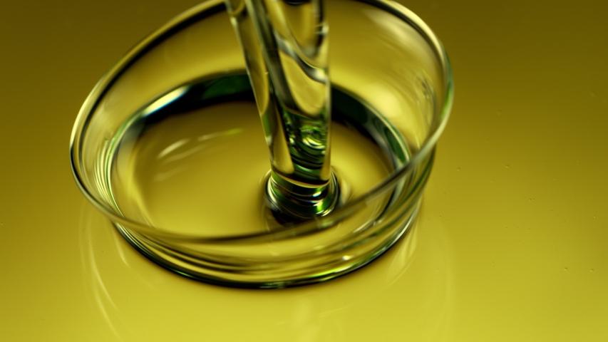 Super Slow Motion Shot of Pouring Olive Oil at 1000fps.