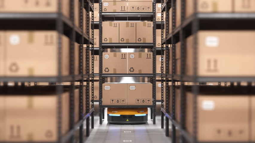 Autonomous robot or AGV moves rack with cardboard boxes in automated warehouse. Seamless looping POV shot. Automated warehouse of the future concept. Realistic high quality 3d rendering animation. | Shutterstock HD Video #1046792635