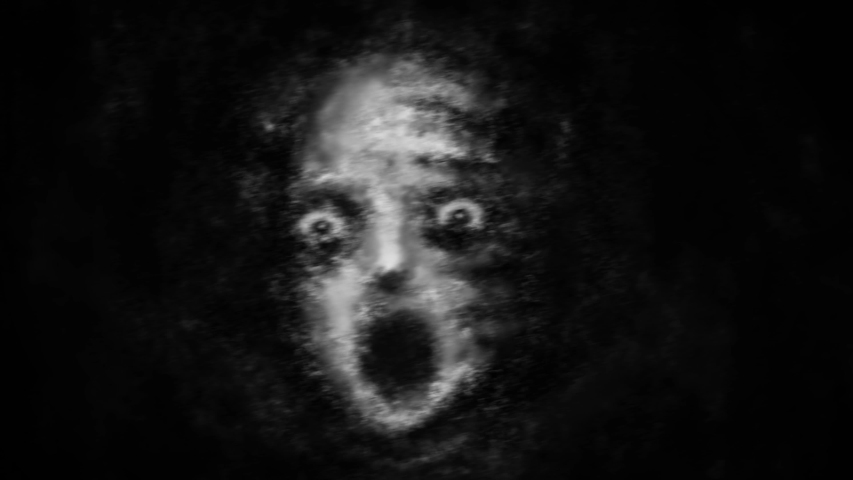 Animated horror collection with a frightened face, a monster from the dark and a suicidal hanged man. Animation in genre of horror with blur effects and camera shake. Black and white color background.