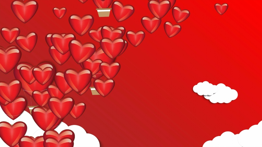 Many red heart and heart balloon flying on red background with animated clouds. hearts animation