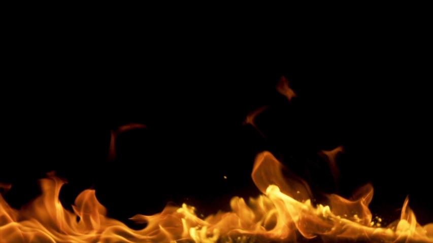 Burning fire. Bonfire. Closeup of flames burning on black png background. | Shutterstock HD Video #1046811475