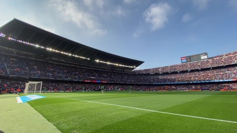 fc barcelona camp nou stock video footage 4k and hd video clips shutterstock barcelona feb 15 view of the camp nou home stadium of fc barcelona on february 15 2020 in barcelona spain