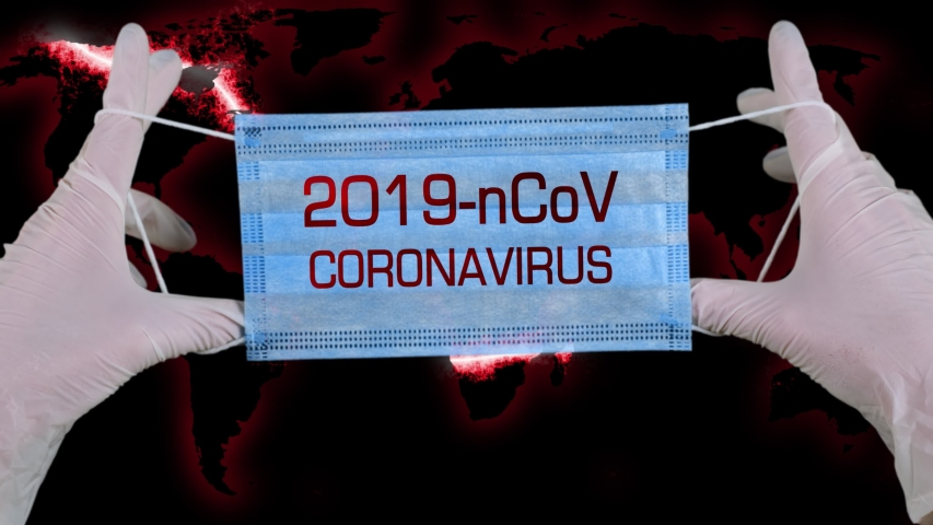 Novel Coronavirus nCoV , WUHAN. virus concept. Medical mask of blue color for protection against flu and other diseases. chinese coronavirus outbreak. Concept, for an outbreak occurs in Wuhan, China.   Shutterstock HD Video #1046859367