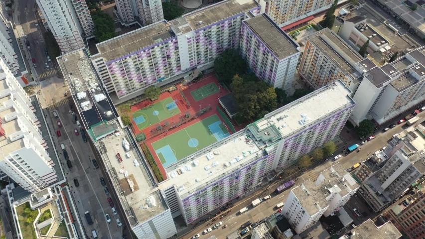 Aerial view of Shek Kip Mei Estate ,Kowloon, Hong Kong. | Shutterstock HD Video #1046892490