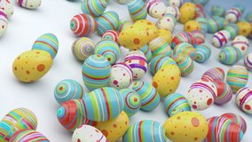 Easter eggs on gradient background. Colorful Easter eggs fall in to the frame, you can put their your inscription or logo. High quality animation. Look to my profile to find another easter video.