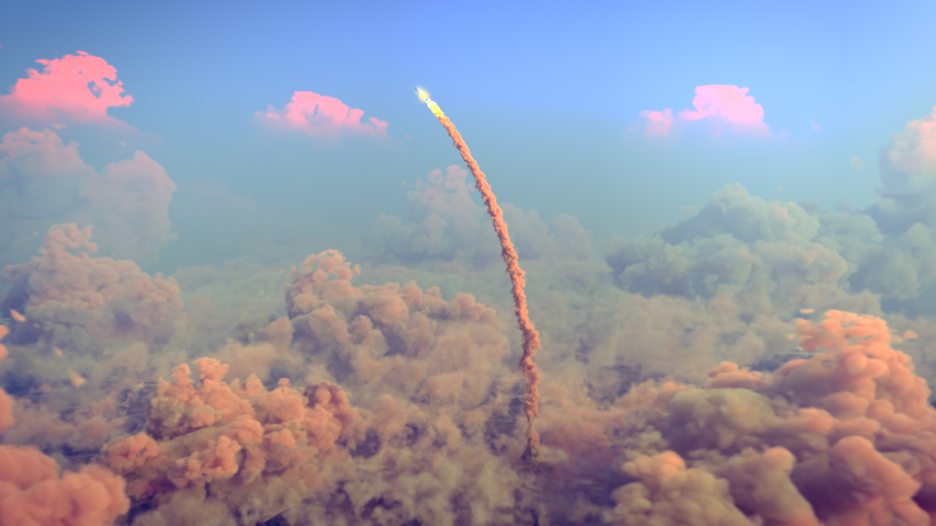 Rocket Launch through the clouds, Starship rocket to the mars. 4k animation | Shutterstock HD Video #1046941708