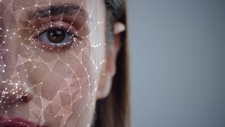 Face ID. Future. Half Face of Young Caucasian Woman for Face Detection. Brown Female Eye Biometrical Iris Scan Reading for Person Identification. Augmented Reality. 3D Technology Concept. Royalty-Free Stock Footage #1046953081