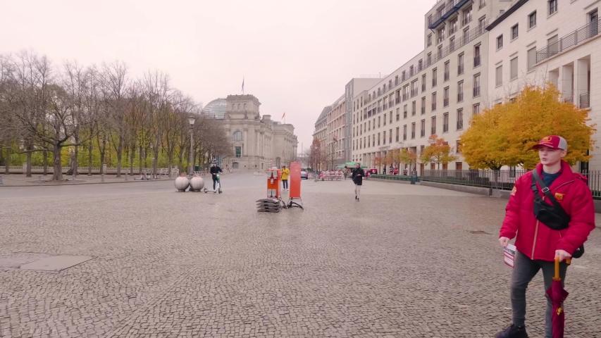 Berlin / Germany     4.20.2019      ,  video of tourist traveling in the street of Berlin   , taken by hand camera