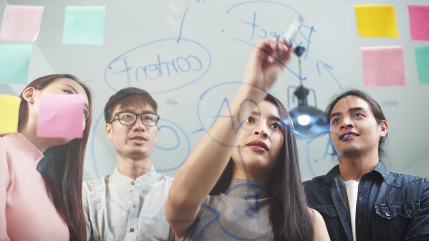 Young Asian woman writing glass wall with sticky notes, leading creative team group meeting in modern office. Business people teamwork, colleague coworker project brainstorm, or idea sharing concept Royalty-Free Stock Footage #1047033526