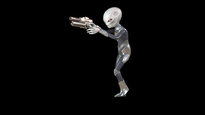 Gray Alien with Uniform Walkcycle Gun 4K Alpha Matte Side 3D Rendering Animation | Shutterstock HD Video #1047046978