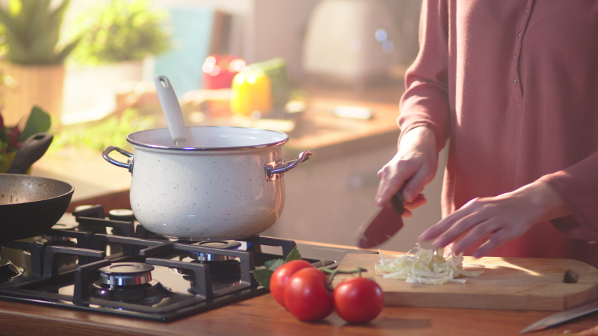 Woman mom cooking in the kitchen concept