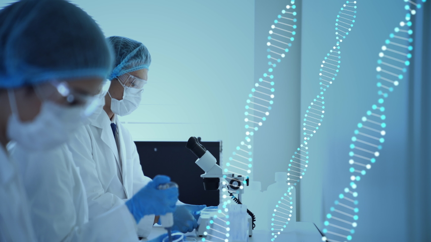 Genetic engineering concept. Medical science. Scientific Laboratory. Royalty-Free Stock Footage #1047073462