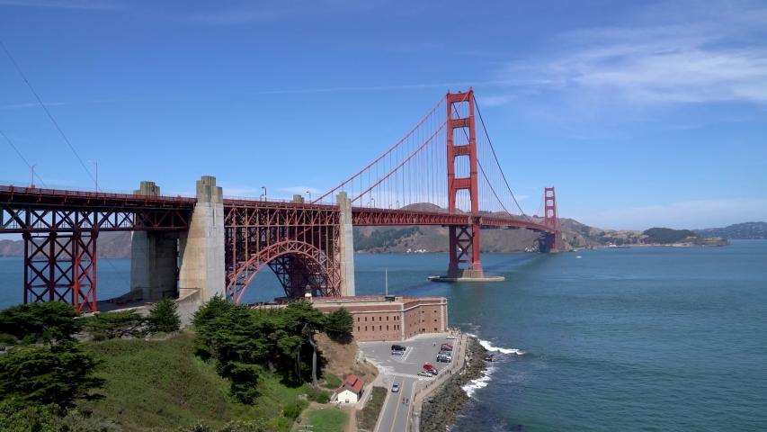 San Francisco, California, USA - August 2019: Golden Gate Bridge on a sunny summer day. The Golden Gate Bridge is a suspension bridge spanning the Golden Gate.