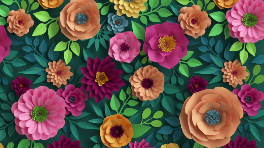 3d render, abstract pink peachy orange paper flowers appearing over dark green background, colorful botanical motion design, blooming live image, creative floral wallpaper | Shutterstock HD Video #1047096463