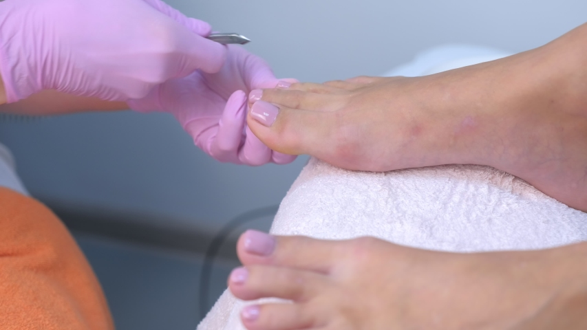 Pedicurist master is wiping painted shellac toe nails using lint-free napkins, closeup view. Professional pedicure in cosmetology clinic. Cutting skin with tongs. Hygiene for feet in beauty salon. | Shutterstock HD Video #1047106150