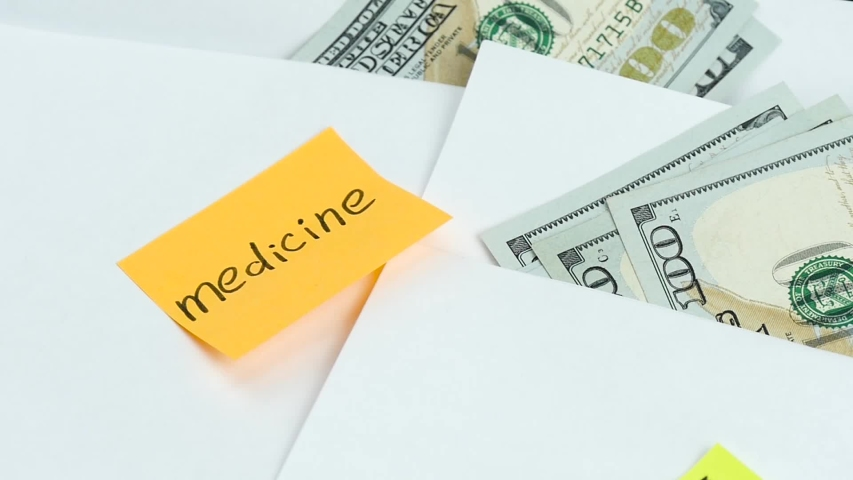 The concept of personal budget, social policy and financial well-being. Close-up of the envelopes with the money to pay for services and medicine. Royalty-Free Stock Footage #1047116635