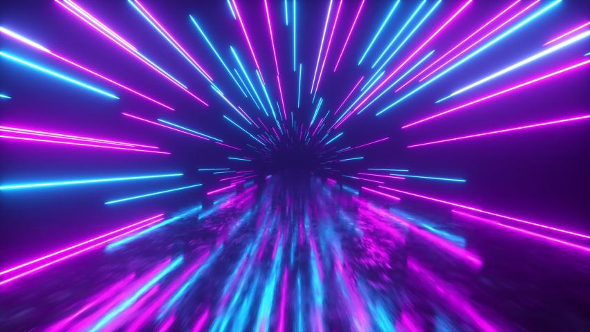 Flying in space with luminous neon lines. Hyperspace. Modern ultraviolet spectrum of light. Blue purple color. Seamless loop 3d render Royalty-Free Stock Footage #1047120490