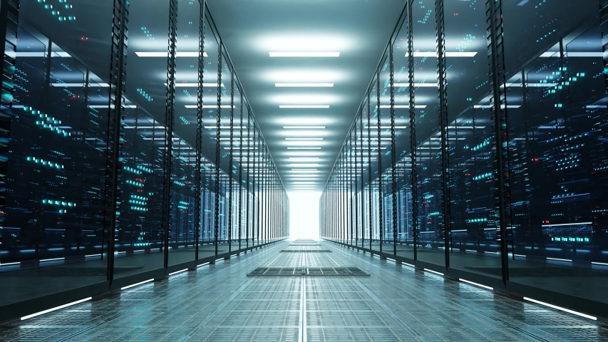 Data center with endless servers. Network and information servers behind glass panels. Server room with twinkling lights. 4K high quality loop animation Royalty-Free Stock Footage #1047185632
