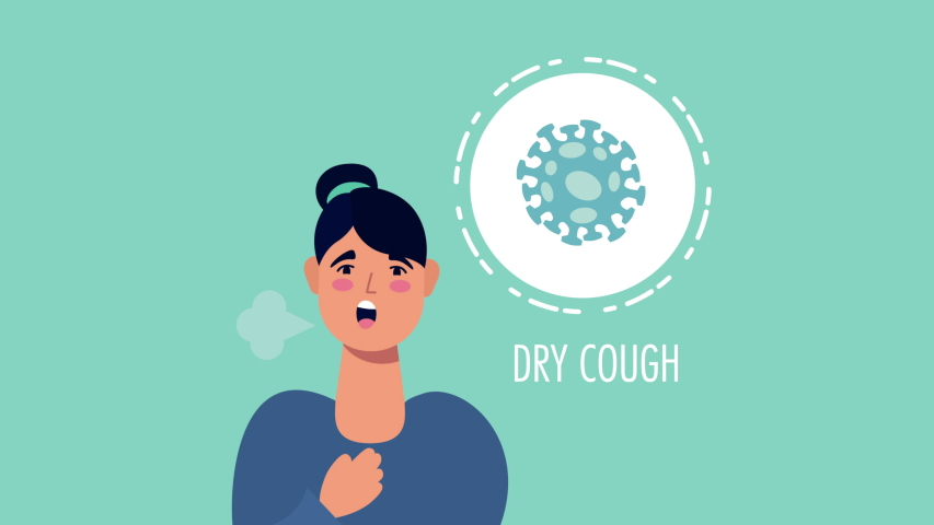 Woman with coronavirus dry cough symptom character ,4k video animated