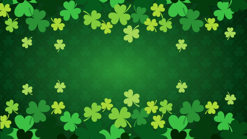 St patrick's  day animated card with clovers pattern ,4k video | Shutterstock HD Video #1047193084