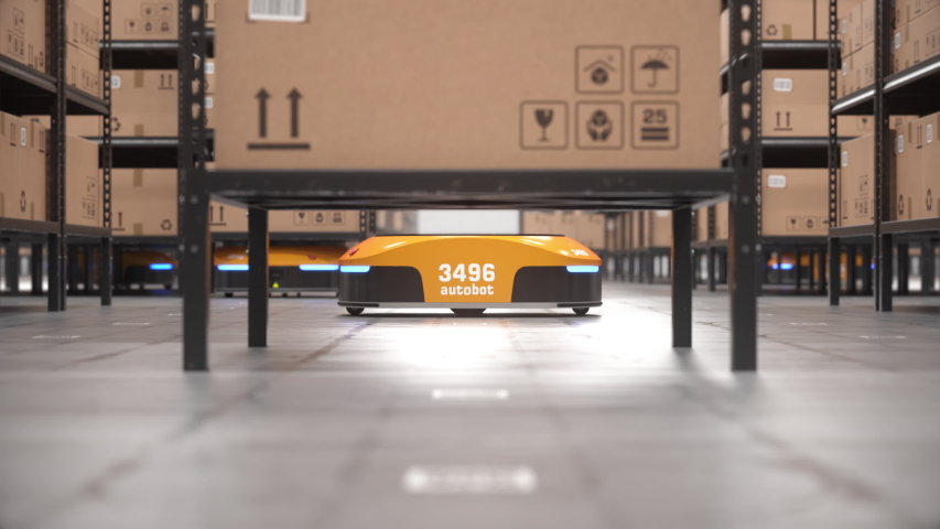 Autonomous robot lifts shelf and moves it off screen in automated warehouse. Seamless looping close-up shot. Automated warehouse of the future concept. Realistic high quality 3d rendering animation. Royalty-Free Stock Footage #1047193654