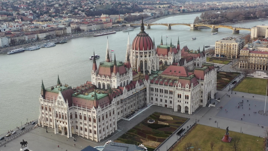 Aerial Video of Hungarian Parliament in Budapest and Danube River  | Shutterstock HD Video #1047194536